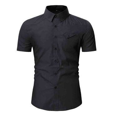 New Style Hot Sale Fashion Men's Button Personality Pocket Short Sleeve Shirt