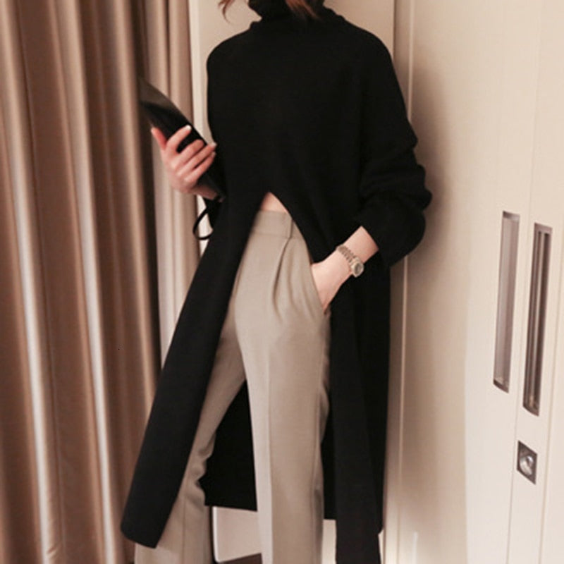 Split Black Sweater Women Long Sleeve Turtleneck Knitted Pullover Tops