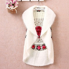 New Fashion High Quality Autumn Winter women's crochet cape vest sweater