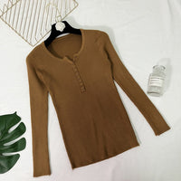 Spring Button V Neck Sweater Women Basic Slim Knitted Pullover