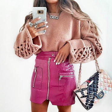 Women Skirt Autumn New Fashon Sexy Leather Split Zipper High Waist