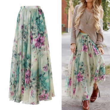 Women Flower Long Skirt Full Summer Beach Sunny
