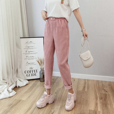 Women Corduroy Harem Pants Solid High Wait Loose Casual Ankle-Length