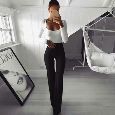 New Women Ladies High Waist Slim Flared Long Pants