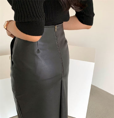 New 2020 Spring Women PU Leather Skirts High Waist