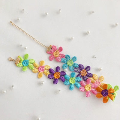 New Colorful Flower Clip Multi-layer Heart Pendant Silver Chain Metal Line Lock Chain Necklace for Women