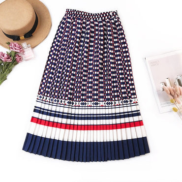 Fashion New Black White Dot Contrast Color Pleated Elastic High Waist Skirt