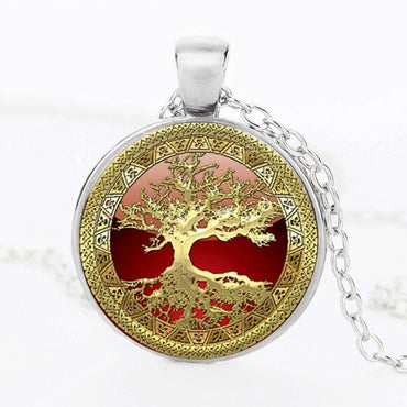 New Tree Life Art Pendant statement Necklace Photo of Glass Cabochon Charm
