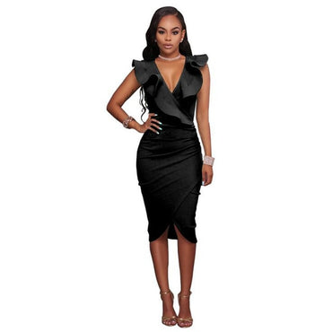 Best Selling New Solid Color Sexy V-neck Ruffled Sleeveless Woman Dress