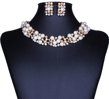 Fashion Beads Gold Chocker Collar Necklace For Women