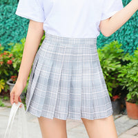 New Summer Skirt High Waist Women Plaid Skirt