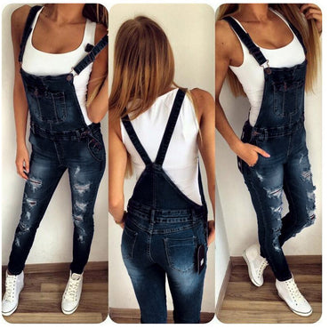 New Women's Jeans Jumpsuit Denim Overall Skinny Hole
