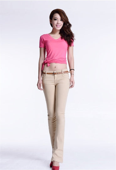 New cotton Pure color colour Elastic force Bell-bottoms trousers high waist jeans woman