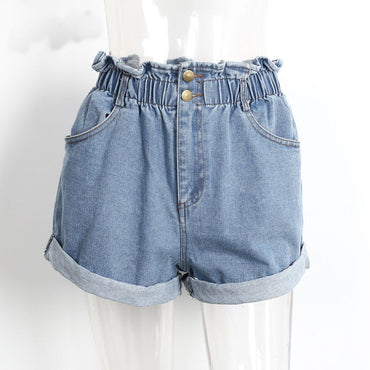 Summer New Women Denim Shorts Vintage Light Blue Solid