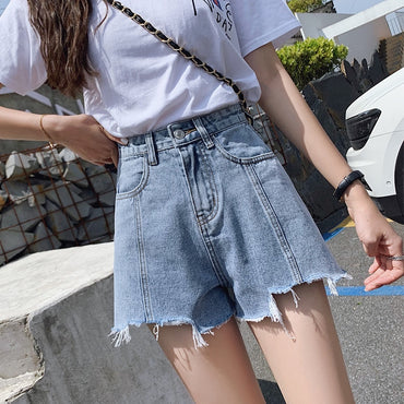Spring And Summer New Style Denim Shorts Women's High-waisted