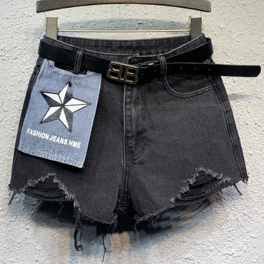 Spring summer new casual denim shorts black