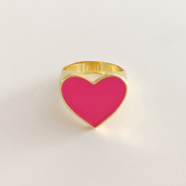 New Arrivals Must Have Vintage Gold Color Red Heart Rings For Women