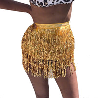 NEW FASHION Women Sequin Belly  Dancer Costume Tassel Wrap Skirt