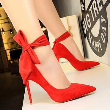 New Shoes Women High Heels Pumps Women Red Shoes Suede
