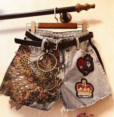New Summer Denim Shorts Heavy Beading Phoenix Appliques