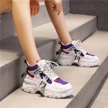 Spring New Leather Women's Platform Chunky Sneakers Fashion Women