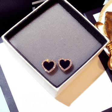 Cute Korean Earrings Heart Bling Zircon Stone Rose Gold Stud