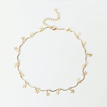 New Dainty Gold Color Chain Tiny Star Choker Necklace for Women
