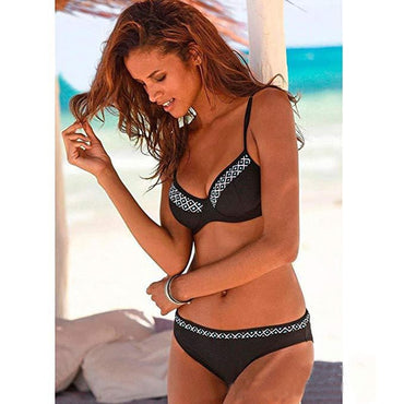2020 Sexy Solid Bikini Two Piece New High Leg Push Up Swimming Suits for Women