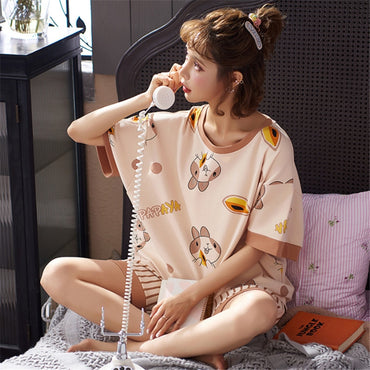 New Sleepwear Sets For Women Two Piece Set Pyjamas Lovely Cartoon Pijama Ladies