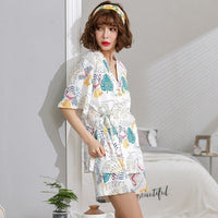 Simple Style Women Pajamas Set Japanese Kimono Style Summer New Sleepwear