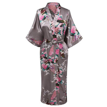 Red Lounge Nightwear Casual Bride Wedding Party Robe Print Kimono Gown Summer