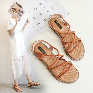 New Flat Sandals Shoes Woman 2020 Summer Narrow Band Lace-Up Elegant
