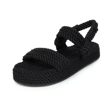 2020 New Summer Women Flat Sandals Rope Female Beach Shoes