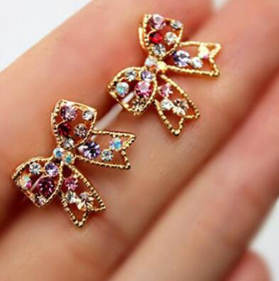 New Fashion Designer Jewelry Colorful Rhinestone Imitation Pearl Butterfly Bow Stud Earrings for Women
