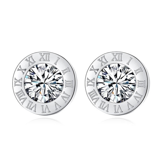 Fashion New Stainless Steel Acrylic Crystal Stud Earrings for Women