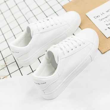 Woman Pu Leather Tenis Feminino Lace-up White Sneakers Size 35-40