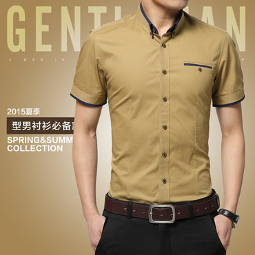 M-5XL 2020 New Fashion Mens Short Sleeved Shirt Solid Casual