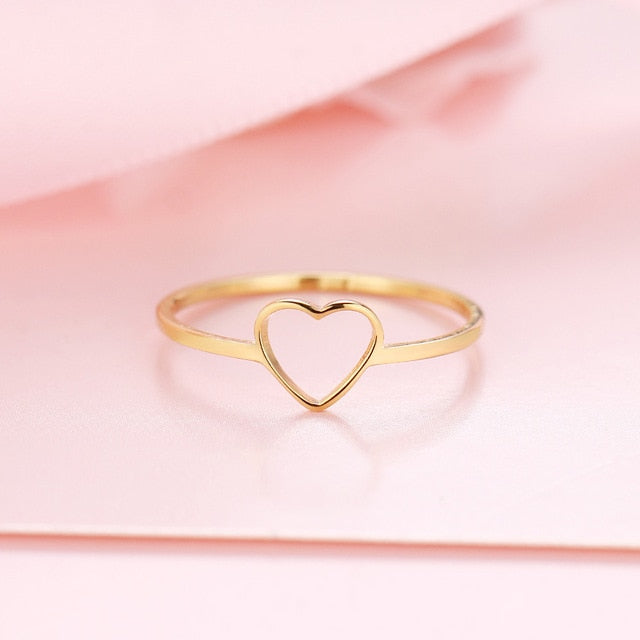 New Fashion Gold Color Heart Shaped Wedding Rings for Woman