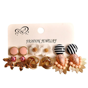 New fashion women jewelry wholesale girl birthday earrings flower/pink beautiful 6 pairs /set