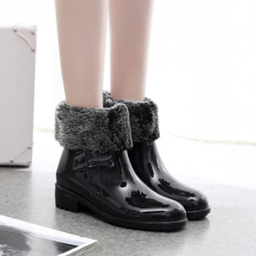 NEW Rain Boots Rubber Women Ankle Boots Casual Platform Shoes