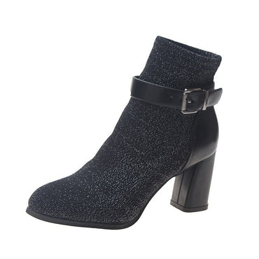 New Women Autumn Winter Ankle Boots Belt Buckle Pointed Toe High Heels