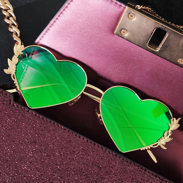 New Fashion Heart Sunglasses Metal Women Luxury