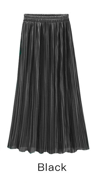 Spring Summer Pleated Skirt Womens Vintage High Waist