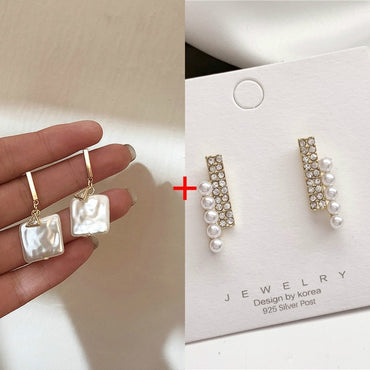 2020 New Korea Retro Square Acrylic Pearl Elegant Temperament Simple Zircon Earrings