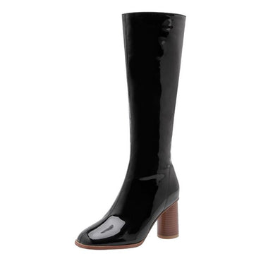 Women's Ladies Fashion Casual Round Toe Solid High Heels Shoes Knee High Boots