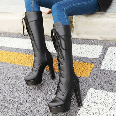 Woman Shoes Women Elegant Spike High Heels Platform Shoelaces Knee High Boots