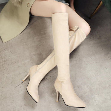 New Wholesale Plus Size 46 Thin High Heels Zip Up Knee High Boots Women