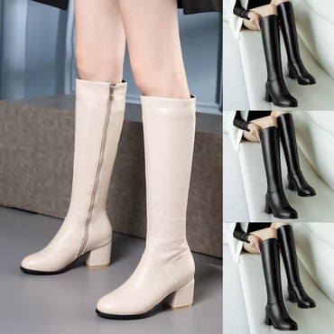 2020 Spring Winter New Women's Winter Warm Boots Side Zip Round Toe Square High Heels