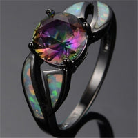 The New Hot Women's Classic Multicolor Mystery Rainbow Opal Black Color Ring