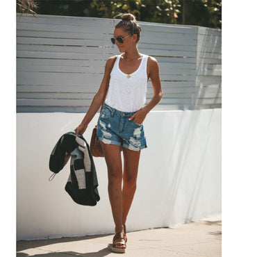 Women Casual Denim Shorts Shredded Jeans